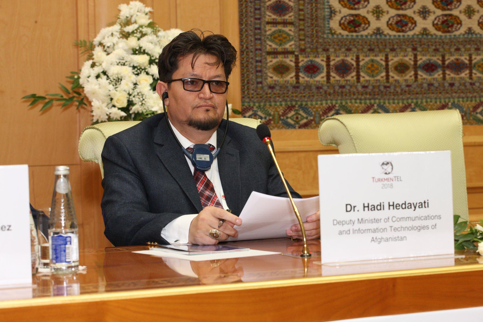 اشتراک پوهنوال داکتر هادی هدایتی معین وزارت مخابرات و هئت همراه شان رییس افغان تیلیکام در پنجاه و سومین جلسه مشترک شورای سران ادارات منطقه ای مخابرات در شهر عشق آباد پایتخت ترکمنستان