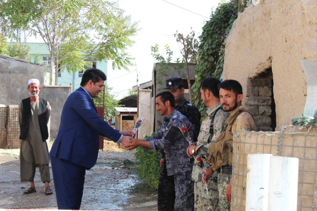 Celebrating the National Flag Day at the Telecommunications Directorate of Sar-e-Pul Province
